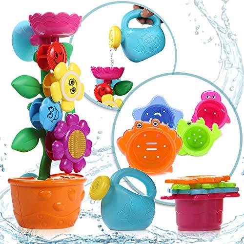 OleOletOy Baby Badespielzeug Set - Süße Blume Wassermühle und 4 STK. Stapelbecher - Kinder BPA Frei...