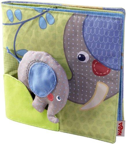 Haba 300146 - Stoffbuch Elefant Egon, weiches Knisterbuch mit vielen Fühl- und Spieleffekten, wunderschön...