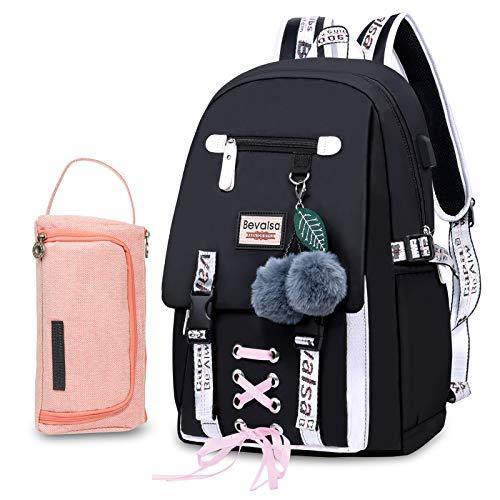 Bevalsa Schulrucksack mit Federmäppchen Schultaschen-Set für Mädchen Teenager Damen Schulranzen Modisch...