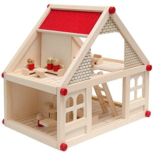 EYEPOWER Puppenhaus Holz mit Zubehör Möbeln Spielfiguren - tragbare Puppenstube 2 Etagen Holz-Puppenhaus