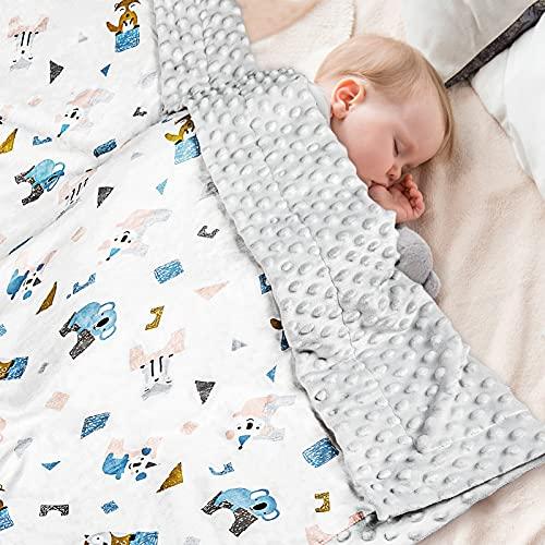 Babydecke 100% Bio Baumwolle, Kinder Kuscheldecke Polar Fleece Baby Komfort Decke 70x105cm, Grau Sommer...
