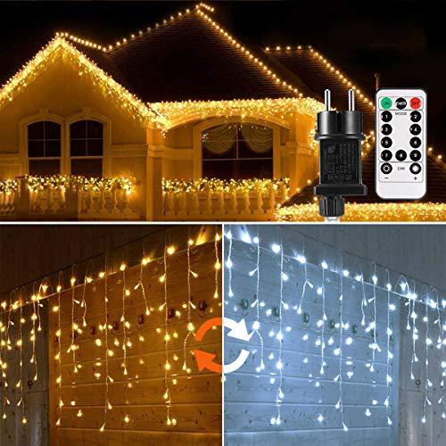 440 LED Lichterkette Eisregen ECOWHO Warmweiß Kaltweiß Lichtervorhang 9x0,8m erweiterbar Eiszapfen...