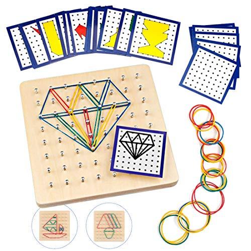 O-Kinee Holz Geoboard Spielzeug,Geometriebrett Montessori Holz Puzzle Spielzeug Für Kinder Und...