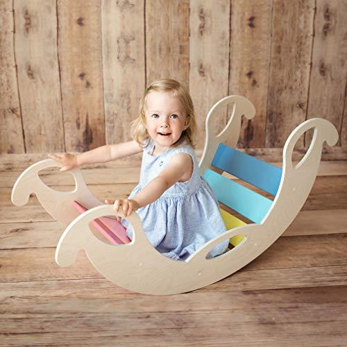 Nobsi Bunte Bogenwippe aus Holz - handgefertigter Kletterbogen, Kletter-Brücke für Babys und Kinder, nach...