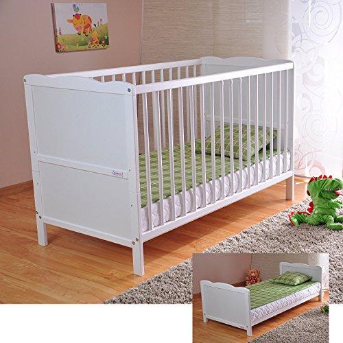 BABY Gitterbett Babybett Kinderbett mit Aloe Vera Schaumstoffmatratze Zahnschienen höhenverstellbar Weiß...