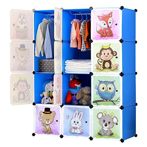 BRIAN & DANY Erweiterbares Kinderregal Kinder Kleiderschrank Stufenregal Bücherregal mit Türen & 2...