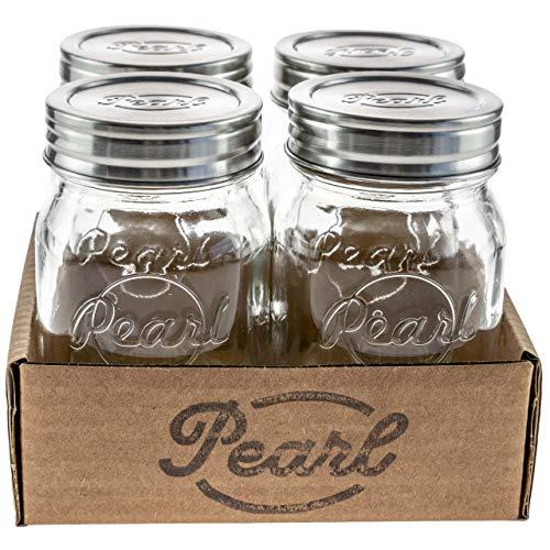 HELLO PEARL Mason Jar Luna Cap Storage – 500 ml - 4er Set, Rostfreier Edelstahlverschluss, Vorratsglas mit...