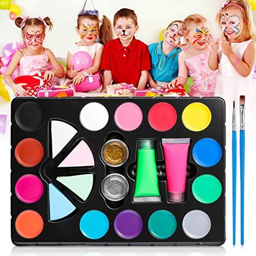 Skymore Kinderschminke Set, 14 Farben Schminkpalette, Kinder Schminkset mit 2 Neon Farben, 2 Pinsel, 2 Glitzer...