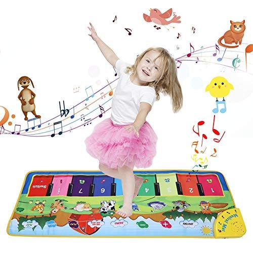 YUNKE Piano Matte, Kinder Klaviermatte, Multifunktionale Bodenmusik Spielmatte, Musik Animal Touch Spieldecke...