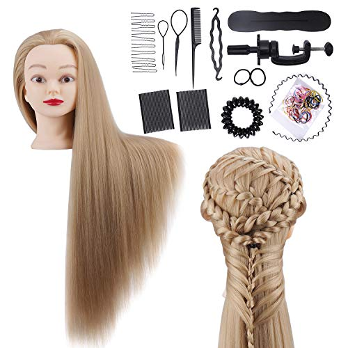 Übungskopf Frisierkopf Friseur ALUOHA 30' 100% Synthetischem Haar Trainingsköpfe für Friseure Professionell...