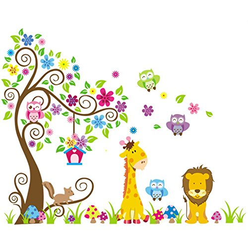 Rainbow Fox XL Wandtattoo Wandsticker Eule Baum Giraffe Löwe Kinderzimmer Baby