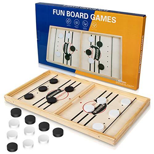 Tisch Hockey Spielzeug, Interaktive 2-in-1 Eltern-Kind Interaktion Katapult Brettspiel Tischhockey Holz...