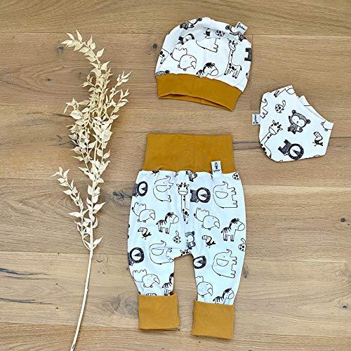 ANGEBOT Set - Hose, Mütze, Halstuch - Zootiere (Senf) Baby Junge