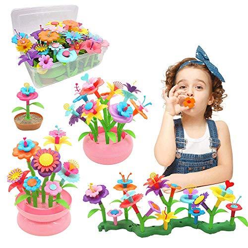 YORKOO Kinder Blumengarten Spielzeug für Mädchen 150pcs DIY Bouquet Sets für Kinder Blume Bausteine Outdoor...