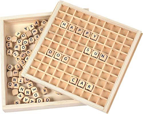 small foot 7988 Wörter legen aus Holz, Lernhilfe zum Buchstabieren mit 145 Buchstabenwürfeln, ab 6 Jahren