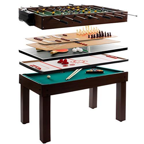 Anaterra Multigame Spieletisch 9 in 1, Kickertisch Tischfußball, Billardtisch, Tischtennis, Schach, Hockey -...