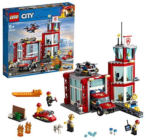 LEGO 60215 City Feuerwehr-Station, Bauset mit Lastwagen, Wasserscooter, Drohne und 3 Feuerwehr-Minifiguren...
