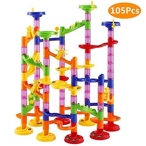 Elover Kugelbahn 105pcs Murmelbahn DIY Bausteine für Kinder mit Glasmurmeln Marble Run Spielzeug für Kinder...