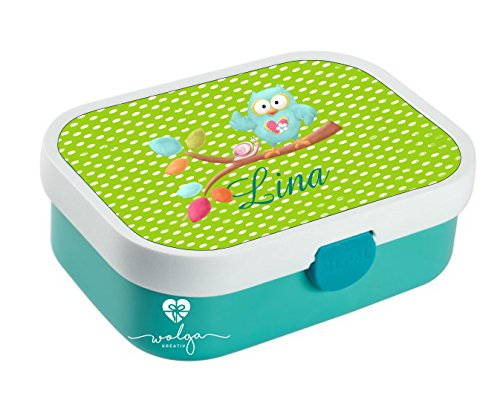 wolga-kreativ Brotdose Lunchbox Bento Box Kinder Eule am AST mit Namen Rosti Mepal Obsteinsatz für Mädchen...
