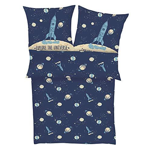 s.Oliver Bettwäsche Rakete 135x200 cm - Kinderbettwäsche blau Satin 100% Baumwolle, Astronaut und Universum,...