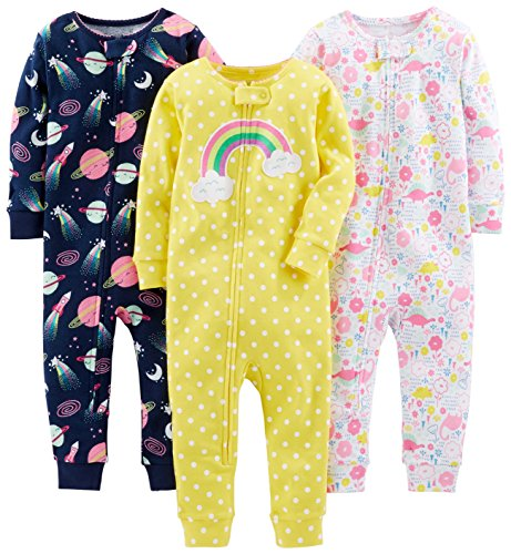 Simple Joys by Carter's 3-pack Snug Fit Footless Cotton Pajamas Pajama Set Dinosaur, Space, Rainbow 24 Months...