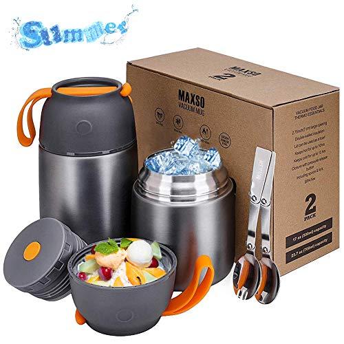 Thermobehälter 500 & 700ml | Edelstahl Warmhaltebebehälter für Essen, Speißen, Babynahrung, Suppe, Brei,...
