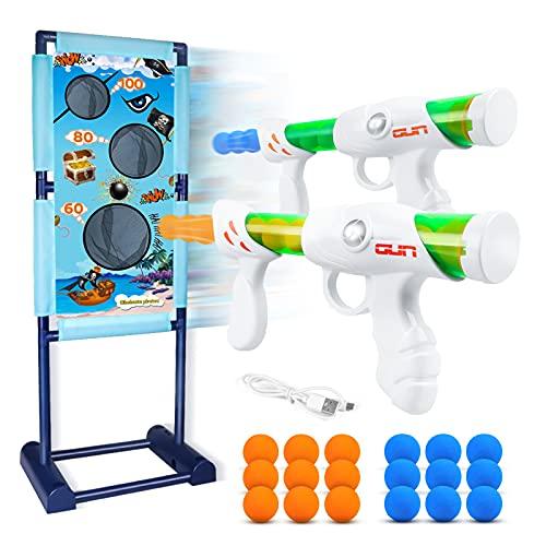 DX DA XIN Bewegliche Zielscheibe Set, Ziel Schießen Spielzeugpistolen für Kinder mit 2Pcs Popper Gun Dual...