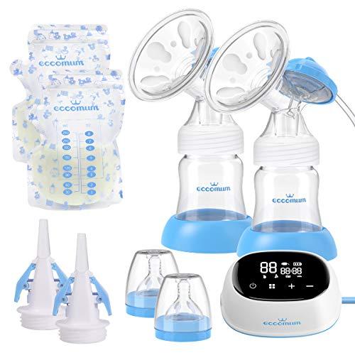 Elektrische Milchpumpe, Eccomum Doppel Milchpumpe verbessert, tragbar/lautlos/wiederaufladbar,...