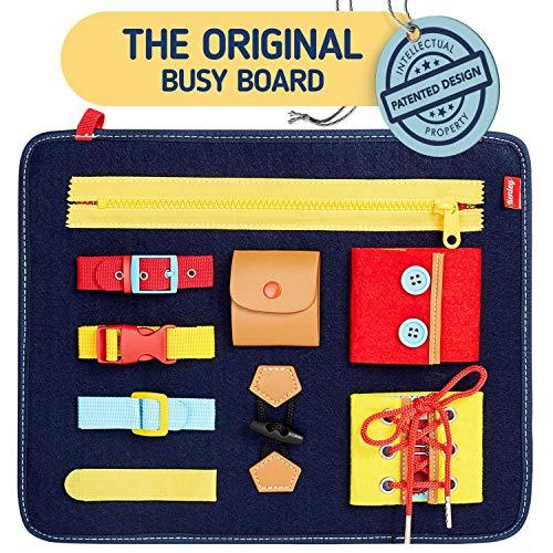 Montessori Spielzeug - Busy Board Motorikbrett für Fertigkeiten und Selbst Anziehen - Baby Motorikspielzeug...