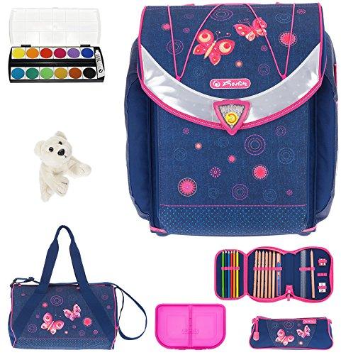 7 Set HERLITZ Flexi Plus Schulranzen Ranzenset Schultasche Mäppchen gefüllt + Sporttasche ek (Butterfly...