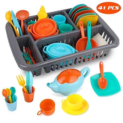 MerryXGift 41pcs Küchenspielzeug Kinderküche Zubehoer Teeservice Set Kochgeschirr Puppengeschirr Spielküche...