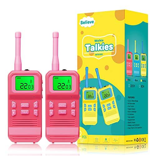 Selieve Spielzeug ab 3-8 Jahren Mädchen, Walkie Talkies für Kinder Spielzeug für Kinder Funkgerät mit 3KM...