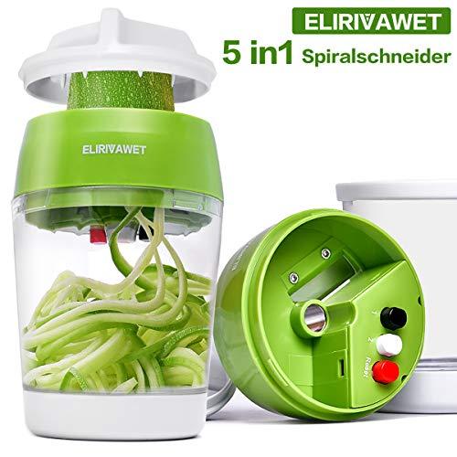 ELIRIVAWET Neueres Modell 5 in1 Spiralschneider Hand für Gemüsespaghetti, Gemüse Spiralschneider mit...