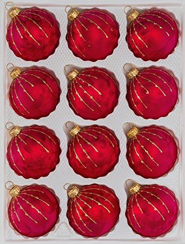 12 TLG. Glas-Weihnachtskugeln Set in Ice Rot Gold Regen- Christbaumkugeln -...