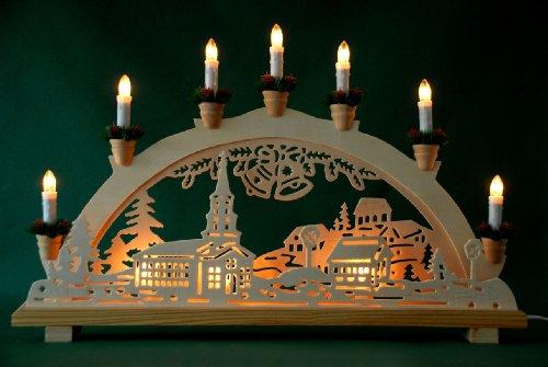 Schwibbogen Lichterbogen 'Dorf und Glocken' 10flammig innenbeleuchtet Weihnachten Advent Geschenk Dekoration...