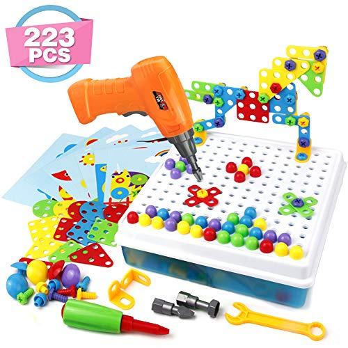 Mosaik Steckspiel 3D Puzzle Kinder Bausteine mit Drillen Pädagogisches Spielzeug STEM Geschenk für Kinder...