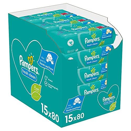 Pampers Fresh Clean Baby Feuchttücher, 1200 Tücher (15 x 80) Mit Frischem Duft, Dermatologisch Getestet,...