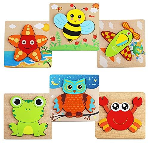 6 Stück Holzpuzzle,3D Holzpuzzle Kinder Steckpuzzle Holz Spielzeug,Holzpuzzle Lernspielzeug Pädagogisches...