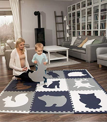 Hakuna Matte große Puzzlematte für Babys 1,8x1,8m – 9 XXL Platten 60x60cm mit Tieren – 20% dickere Baby...