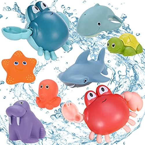GOLDGE Badewannenspielzeug, 8Pcs Badespielzeug Baby ab 6 Monaten Badespielzeug Wasserspielzeug für Baby...