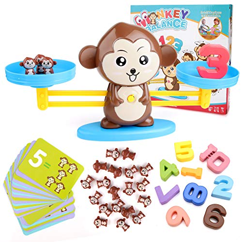 BBLIKE Montessori Mathe Waage Spielzeug, Zählen und Rechnen, Cartoon Tier Affe Balance/Geschicklichkeit...