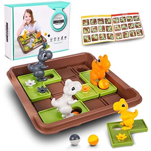 Logik Spiele Kinder Dinosaurier Logikspiele Brettspiel mit 60 Herausforderungen Pädagogisches Spielzeug...