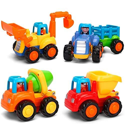 GoStock Baby Spielsachen Spielzeugauto Baufahrzeuge 4 in einem Set für Kinder ab 1 2 3 jahre, Traktor,...
