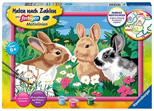 Ravensburger Malen nach Zahlen 28517 - Putzige Häschen - Für Kinder ab 9 Jahren