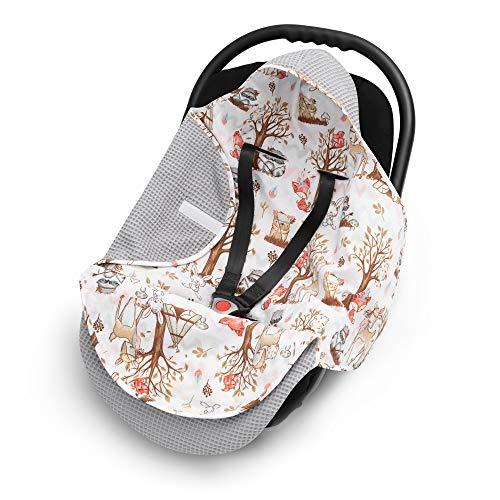 EliMeli EINSCHLAGDECKE für Babyschale Baby Decke für Autositz und Kinderwagen aus Waffelstoff und Baumwolle...