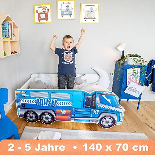 Alcube Autobett Polizei LKW 140 x 70 cm - Kinderbett mit Kantenschutz in Blau mit Lattenrost und Matratze -...