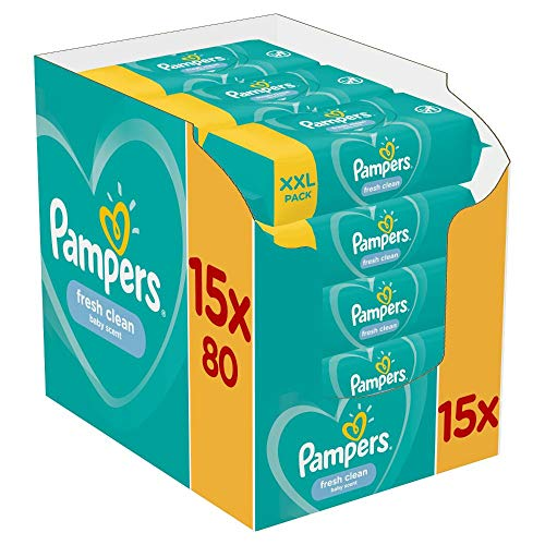 Pampers Fresh Clean Feuchttücher 15 Packungen Mit Feuchttüchern = 1200 Feuchttücher, Mit Frischem Duft,...