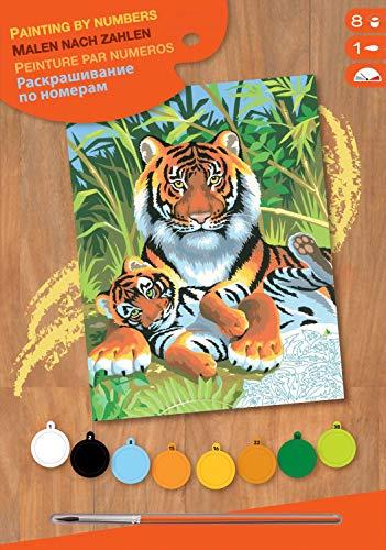 MAMMUT 8220029 - Malen nach Zahlen Junior, Tiger, Komplettset mit bedruckter Malvorlage im A4 Format, 8...