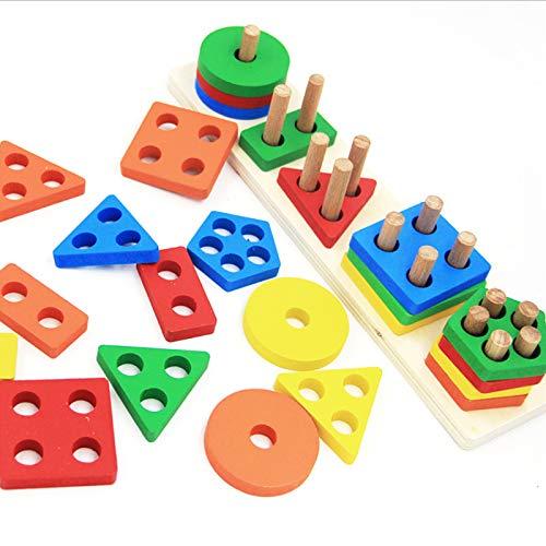 Jsdoin Pädagogisches Spielzeug mit geometrischem Formsortierer, stapelbares Spielzeug für Vorschule,...