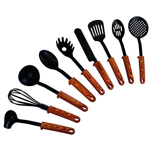STONELINE Back to Nature 9-teiliges Küchenhelfer-Set, Griffe in Holzoptik, mit praktischer Stütze, geeignet...